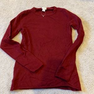 J. Crew cashmere red burgundy sweater
